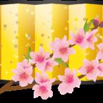 金屏風と花