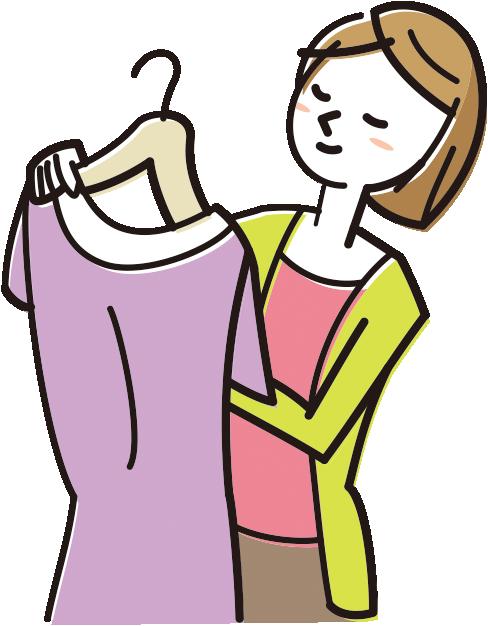 服を選ぶ母親